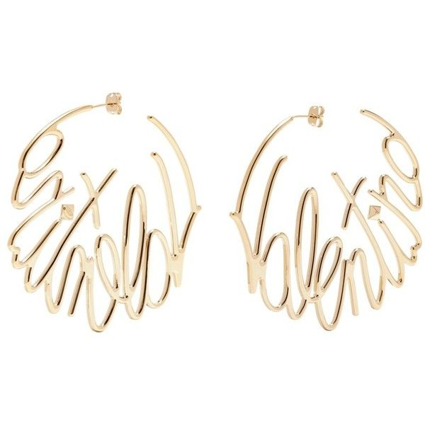 Valentino Logo hoop earrings ($440) ❤ liked on Polyvore featuring jewelry, earrings, metallic, metallic jewelry, initial earrings, earring jewelry, hoop earrings and letter jewelry