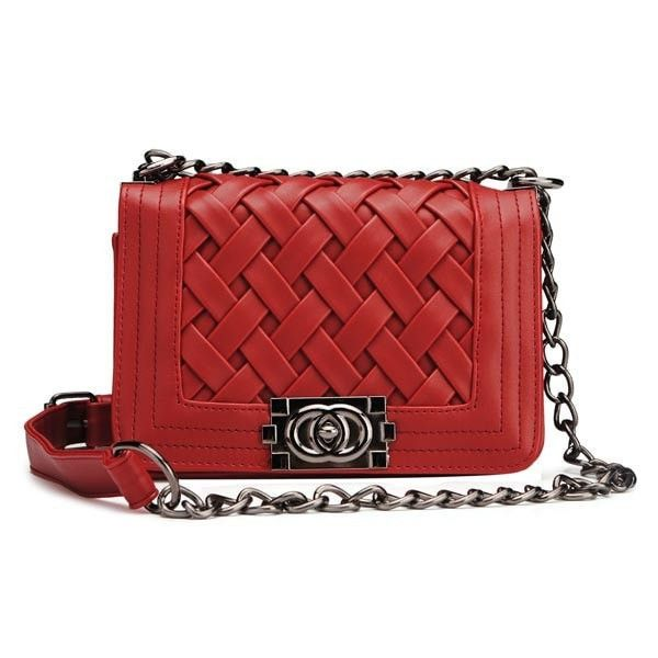 Nice Top Quality Women's Knitted Plaid Design Shoulder Bag/Clutch