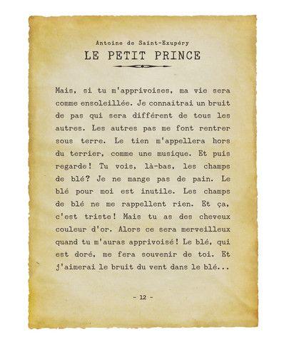 """""""Le petit prince"""". Citation tirée du livre """"Le petit prince"""" d'Antoine de St-Exupéry, à imprimer pour chambre d'enfants."""