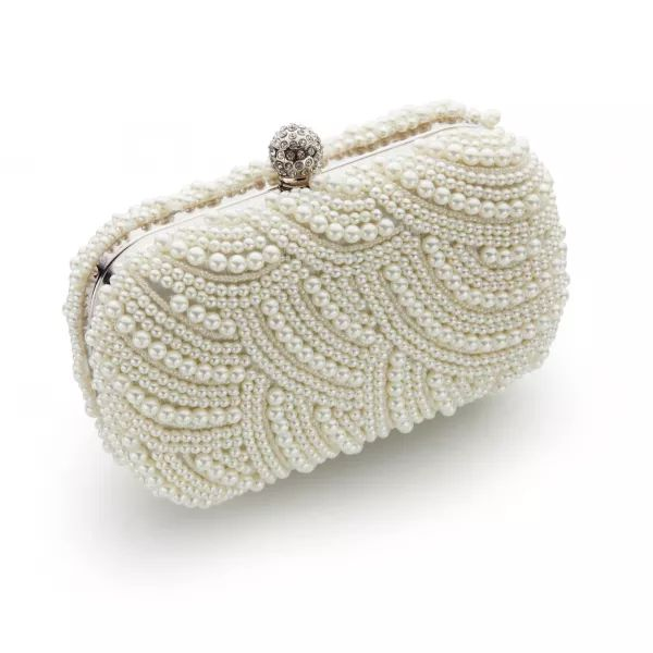 Art Deco Ivory Pearl Box Bridal Clutch Bag for Brides + Weddings at Vintage Styler