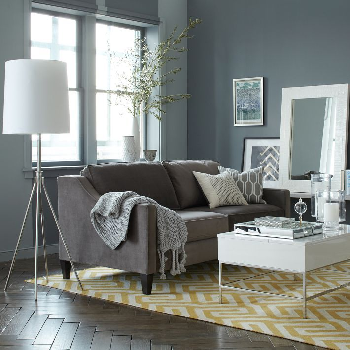 gray couch yellow rug living room pinterest sofas yellow rug