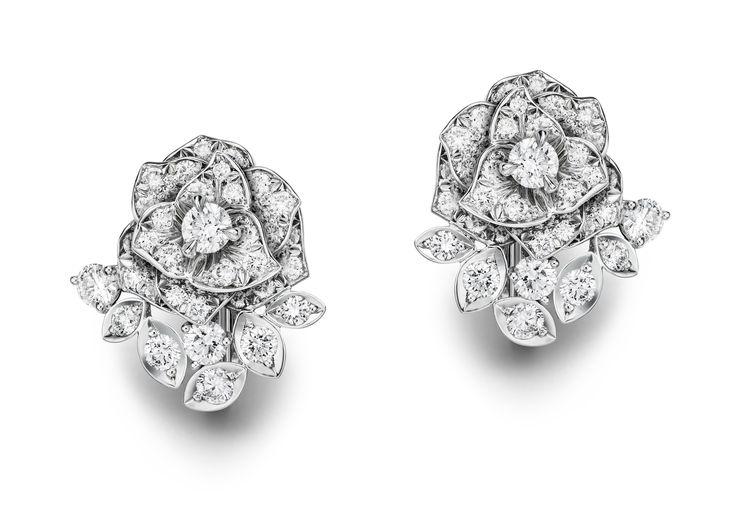 Piaget Diamond Rose Earrings In 18k Red Gold Tthf