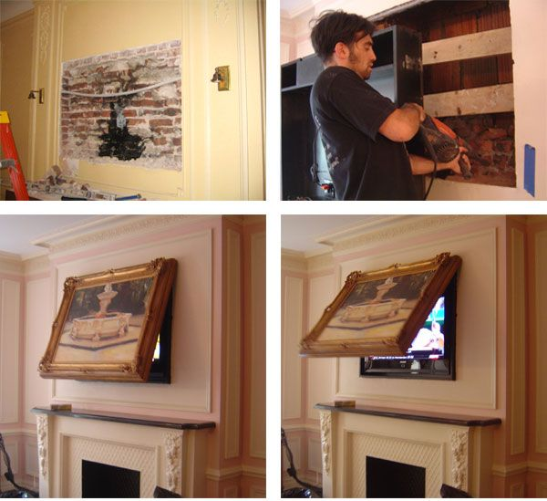 46 best images about hiding flat screen tvs on pinterest wall mount flats and fireplaces. Black Bedroom Furniture Sets. Home Design Ideas