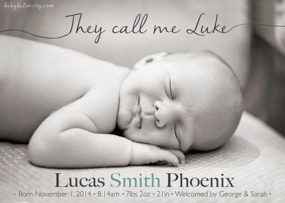 Boy BIRTH Announcement Photo Card  They call me   by babybaloo
