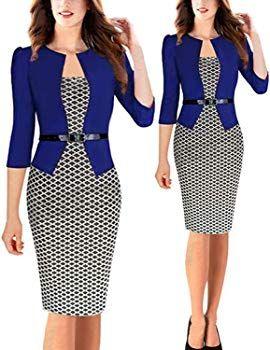efaef9eb9e88 MODETREND Donna Vestiti Manica a 3 4 Elegante Stampato Floreale Abito con  Cintura Giuntura Pannello