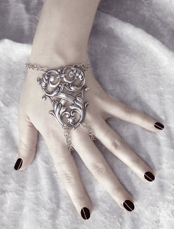 Xander Slave Bracelet - GORGEOUS Antiqued Sterling Silver Plated X-Shape Filigree Flourish with Adjustable Chain Clasp - By GhostLove