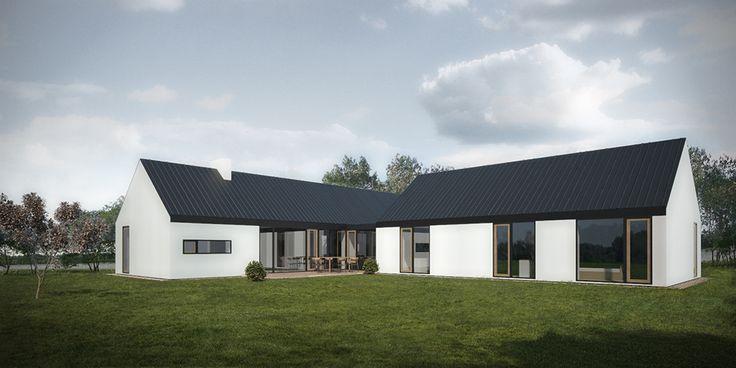 Individualus namas iš dviejų tūrių.