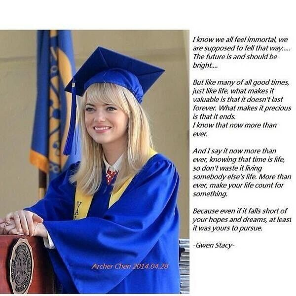 Gwen Stacy's valedictorian speech. Oh the feels ...... ow