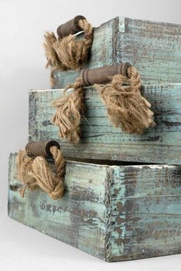 Wood Crate Trays with Rope Handles (Set of 3)