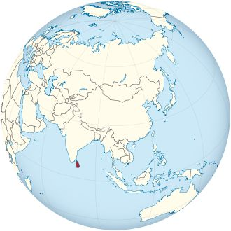 Sri Lanka on the globe (Asia centered) ◆Sri Lanka – Wikipedia…