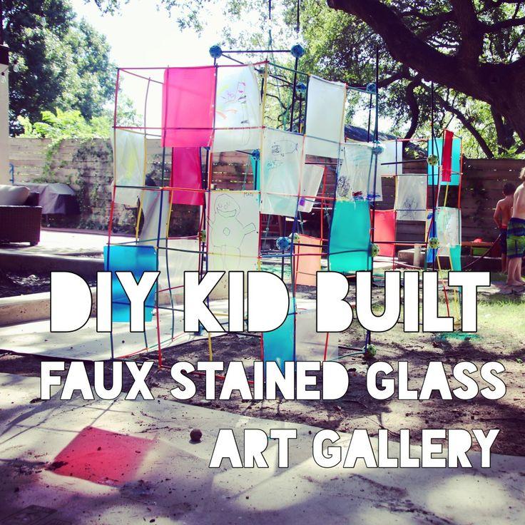 DIY, Kid built, stained glass, art gallery, art display, kids art. building project, Figment Creative labs, Austin Texas, summer camp, outdoors activity, art nouveaux, dividers, school supplies, art class,