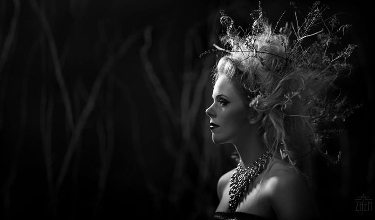 """Couture Class. This was a creative """"family"""" project we shot for fun! My 15 year old daughter did the hair. My wife did the make up and painted both the tree branches in the background and the twigs in the model's hair.  As for the model: The actual model decided to not do the shoot an let me know only the night before. This is actually my gym weight lifting trainer Savannah! She is not a professional model but, as you can see, she sure did a great job! It was much more pleasant doing this…"""