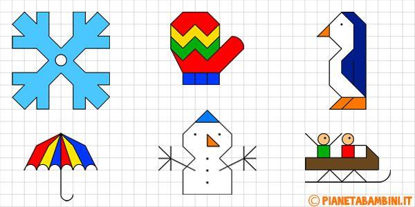 Cornicette invernali a quadretti da disegnare e colorare