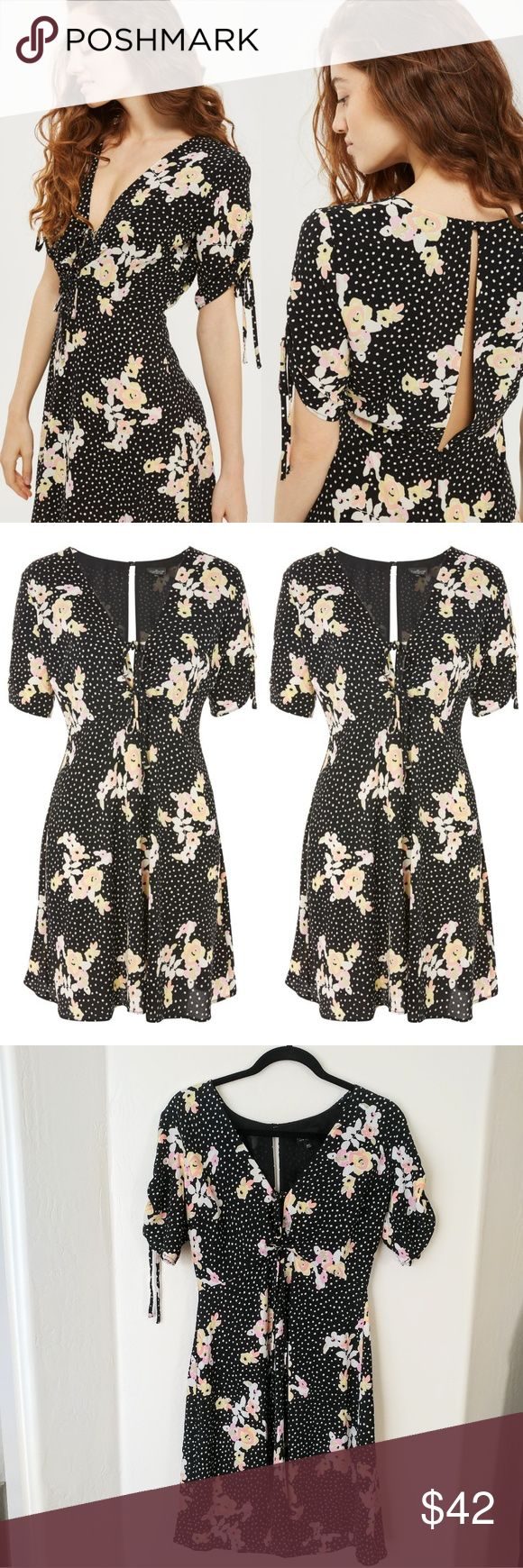 """NWOT Topshop TALL Spot And Floral Tea Dress Embrace the floral trend this season with this printed tea dress. With a spot and yellow floral pattern all over, it features a plunge neckline with tie detailing. Pair with ankle boots for an edgy trans-seasonal look.   Condition: new without tag Size: label says 6, i would say it runs smaller. Check measures before ordering. Bust flat 19"""" Waist flat 14.5"""" Length 36.5""""  Short sleeves Open back  98% Polyester, 2% Elastane. Machine wash. Topshop…"""