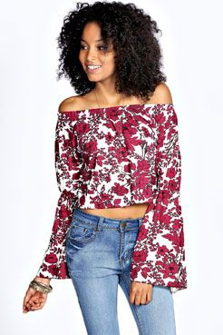 Mia Wide Sleeve Floral Shirred Off The Shoulder Top at boohoo.com