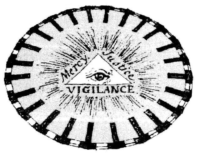 Questo disegno di Jeremy Bentham include elementi di unità e molteplicità con l'Occhio Divino in un triangolo, circondato dalle parole Misericordia, Giustizia e Vigilanza, in uno spazio confinato ovale diviso in ventiquattro scompartimenti.