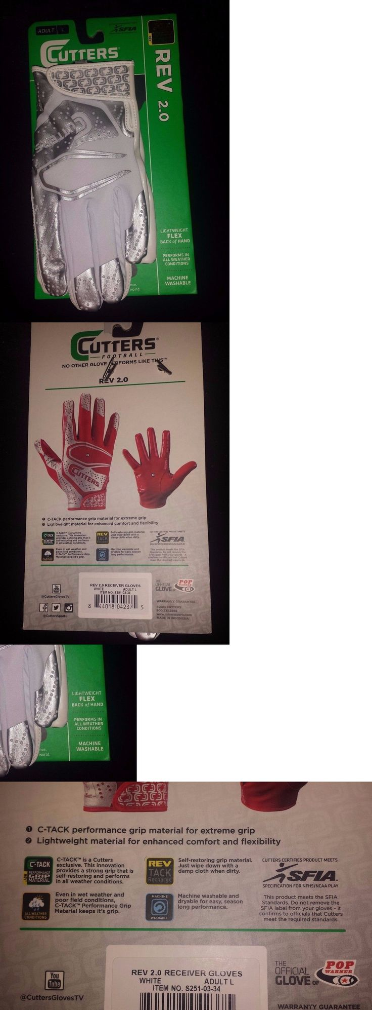 Gloves 159114: Cutters Football Receiver Gloves Rev 2.0 S251 White Adult Large -> BUY IT NOW ONLY: $34.99 on eBay!