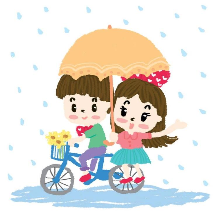 Cute Rainy Day: Sweet In Rainy Day. #illustration #karnbua #kids #cartoon
