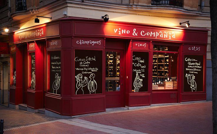 Mostaza Design | Vino & Compañía | Madrid | Wine Shop | Façade | Illustrations by David de Ramón | #retaildesign #mostazadesign #wine #shop #vinoycompañia #interiordesign #interiors #retail #illustration #davidderamon