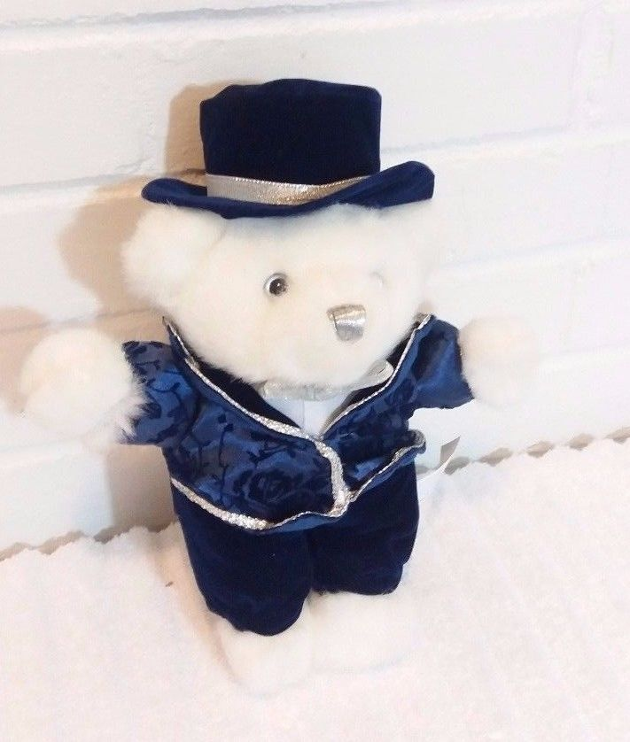 White Teddy Bear Christmas Millennium Blue Suit Top Hat Stuffed Animal Plush(A11 #Unbranded