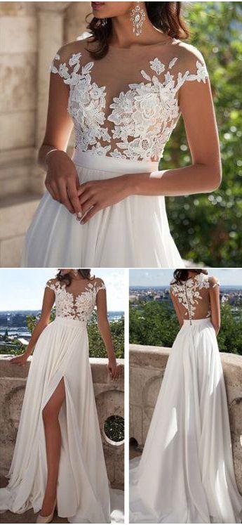 wedding dresses,Ivory Lace Beach Wedding Dresses,Front Slit See Through Wedding Dress,Cap Sleeves Wedding Gowns