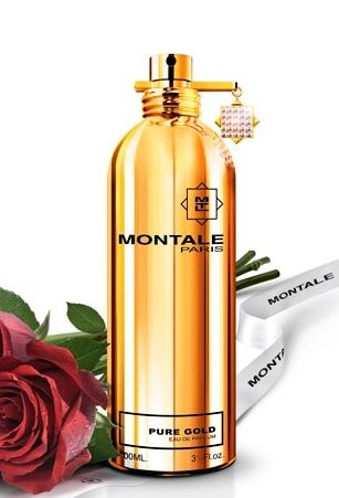 Pure Gold MONTALE. Bardzo jasny koncentrat z białych kwiatów (kwiatu pomarańczy, neroli, egipskiego jaśminu) i owoców (włoskiej mandarynki, moreli). Ten miękki ale bogaty zapach rozwija się intensywnie w nutach bazy z białym piżmem, wanilią i paczulą. Rodzina zapachowa: kwiatowo-orientalna #montale