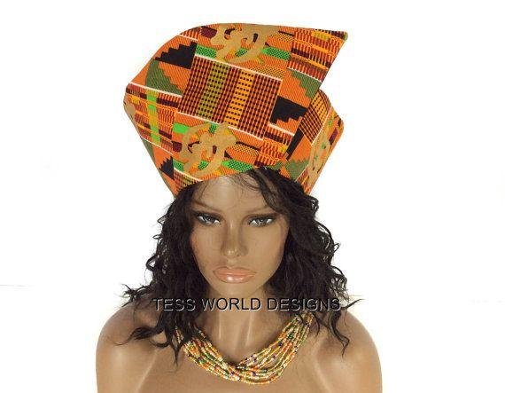 Gye Nyame Traditional African hat/ Wrap around by TessWorldDesigns