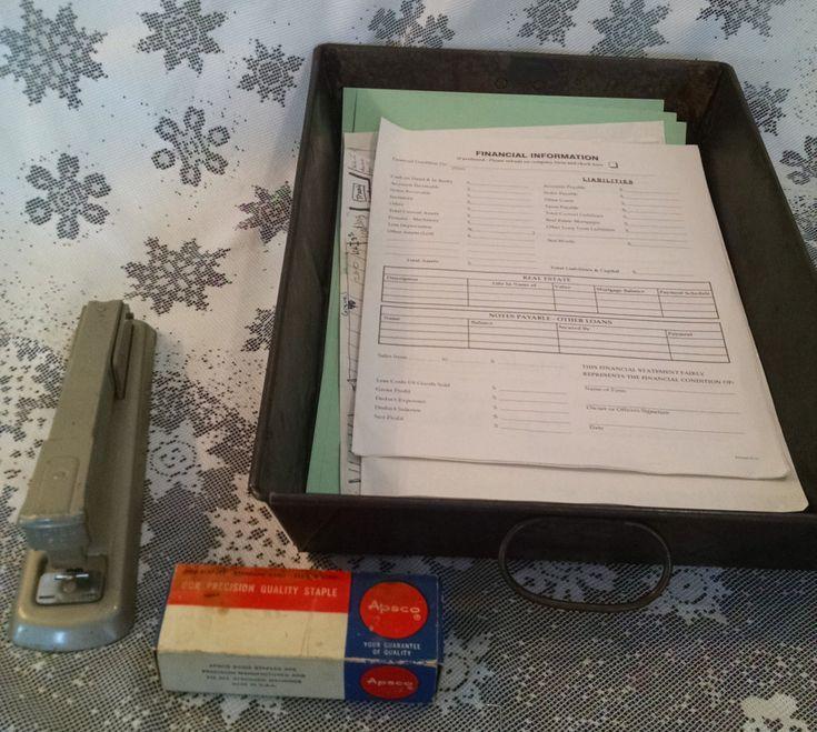 Vintage desk set, file holder, vintage stapler, vintage staples, industrial desk, industrial stapler, industrial desk, vintage file basket by Vintagepetalpushers on Etsy