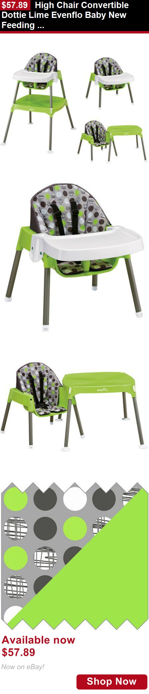 Baby High Chairs: High Chair Convertible Dottie Lime Evenflo Baby New Feeding Toddler Infant BUY IT NOW ONLY: $57.89