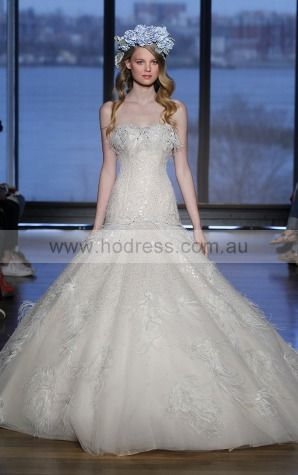 Sleeveless Buttons Tulle Strapless Ball Gown Wedding Dresses gjcf1012--Hodress