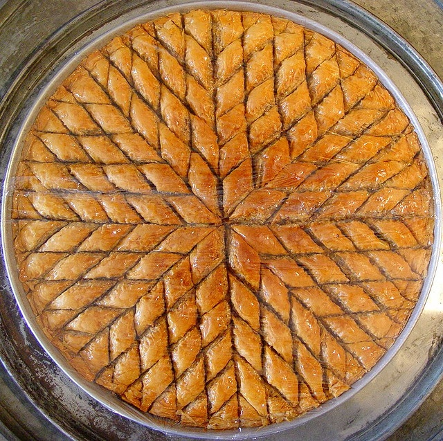 Beautiful pan of Turkish baklava. Photographer: Kel Patolog
