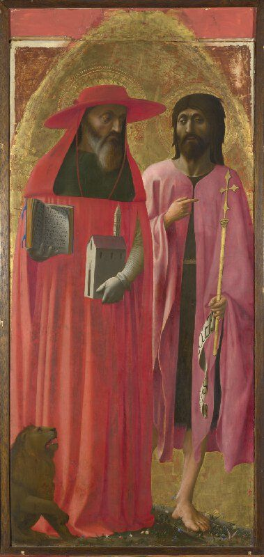 Masaccio (Tommaso di Giovanni Guidi), 1401-1428, Italian, Saints Jerome and John the Baptist (Santa Maria Maggiore Altarpiece), c.1428. Egg tempera on poplar Dimensions, 125 x 58.9 cm. National Gallery, London. Early Renaissance.