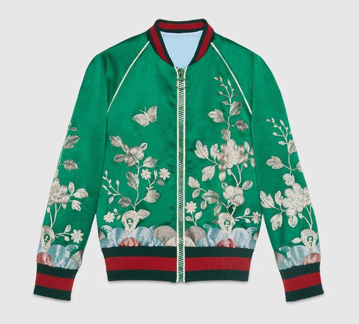 Flower Embroidered Green Fashion Satin Bomber Jacket