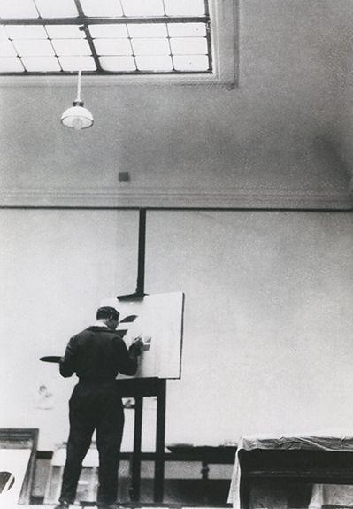 László Moholy-Nagy in his atelier, 1923. Moholy-Nagy Foundation