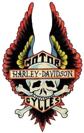 This neat temporary tattoo has a Harley Davidson symbol with an eagle standing on top of the emblym.