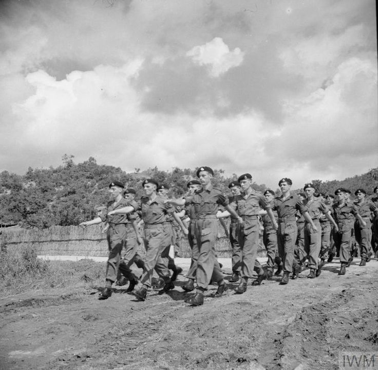 THE KOREAN WAR 1950 - 1953 A Squadron of the 8th King's Royal Irish Hussars march onto the parade ground at a religious service and march past held to mark the formation of the 1st Commonwealth Division in Korea.