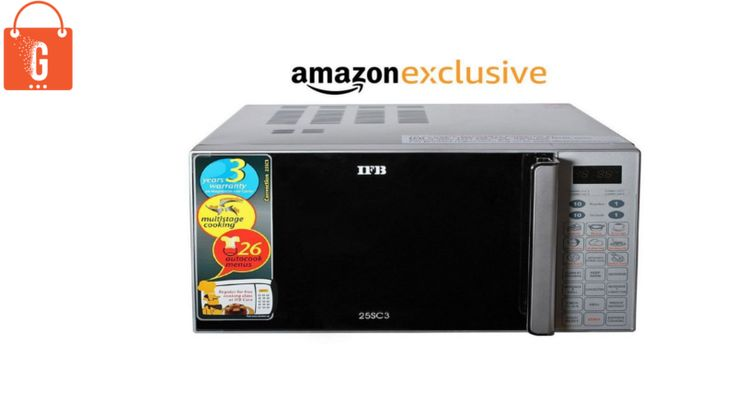 Features 26 Auto Cook Menu, Combination Cooking + Multistage Cooking, Keep Warm, Weight Defrost, Steam Clean, Quick Start, Child Safety Lock & Deodorise.  Buy: IFB 25L Convention Microwave Oven 25SC3 | More Microwave Ovens