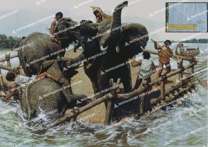 2nd Punic War, 218-201 BC. The Carthaginians under Hannibal move over the Iberic peninsular, south France and the Alps towards Italy, 218 BC. - The Carthaginians crosing the Rhone: Trans- port of the war elephants on ferries.-