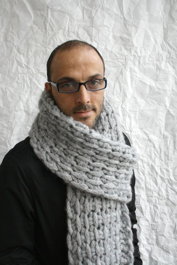 Free SHIPPING Gray Wool Big Extra Long Scarf Perfect Gift Under 75 For Men Dady Boy Friend Valentines Day Gift. $70.00, via Etsy.