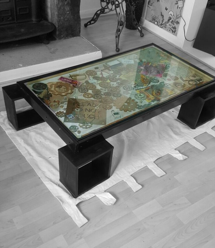Upcycled double glazed window Steampunk inspired decoration  Wooden surround high gloss finish Coffee table