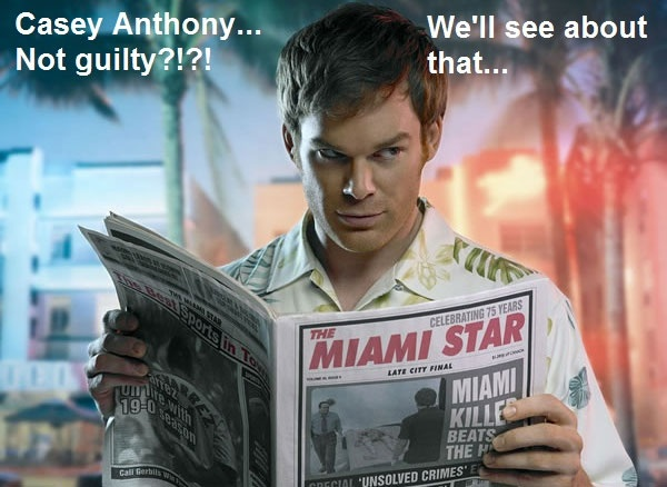 Dexter contemplating Casey Anthony case.