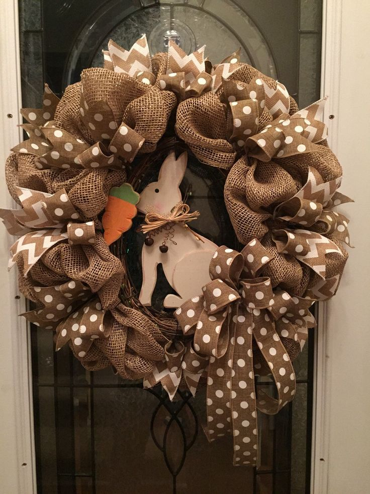 Easter Wreath, Poly Burlap Deco Mesh, Easter Bunny Wreath, Polka Dot ribbon, Chevron Ribbon, Deco Mesh Wreath, Rustic Wood Rabbit, Easter by RoesWreaths on Etsy https://www.etsy.com/listing/224082101/easter-wreath-poly-burlap-deco-mesh