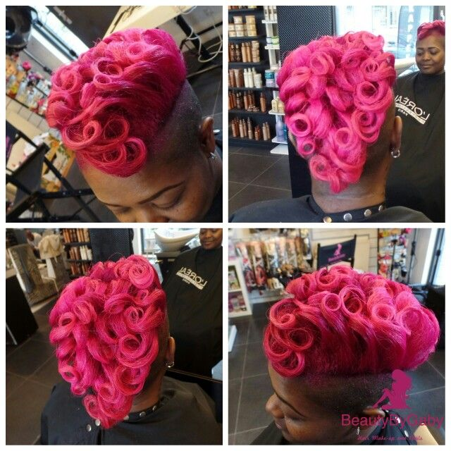 Cut color style pink  pincurls