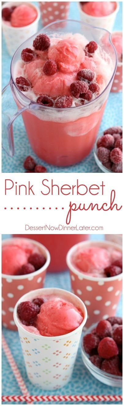 This Pink Sherbet Punch is only 2 ingredients for a fizzy, frothy drink! Add frozen fruit for a garnish and you've got a party punch great for baby showers, Valentine's Day, or summer gatherings!