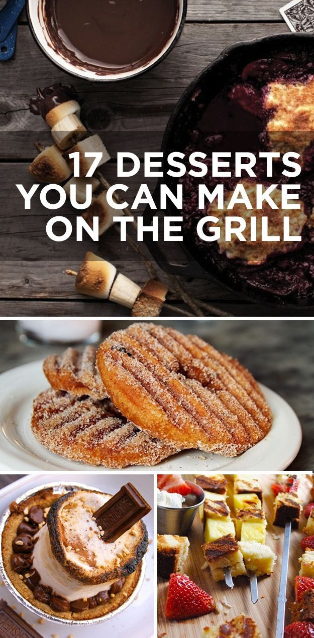 17 Desserts You Can Make On The Grill (with recipes). So many of these are VERY, VERY EASY to make--and look delicious. Grilled peach with bourbon butter sauce? Chocolate cherry ricotta grilled dessert pizzas? Grilled doughnuts? Grilled pound cake with ch