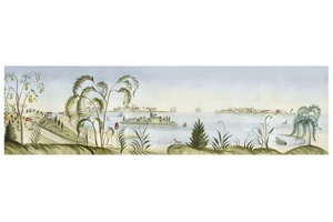 117 best images about wall murals and rufus porter on for Colonial mural wallpaper