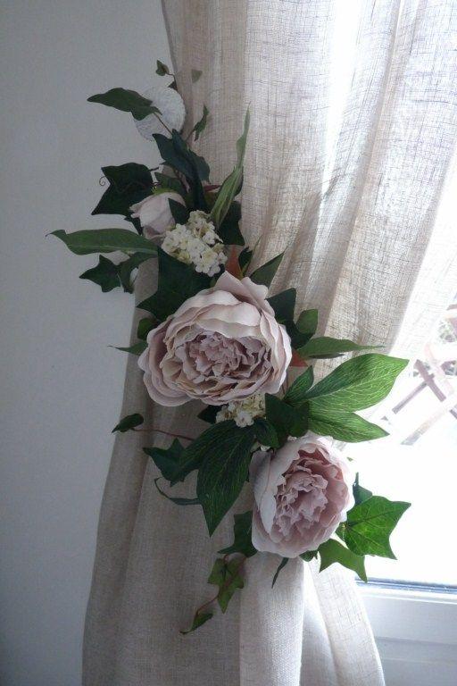Embrasse rideau Florale Pivoines Anciennes Nouvelle Collection, Jolies Embrasses de rideaux, décoration rideaux, embrasses rideaux, voilages...