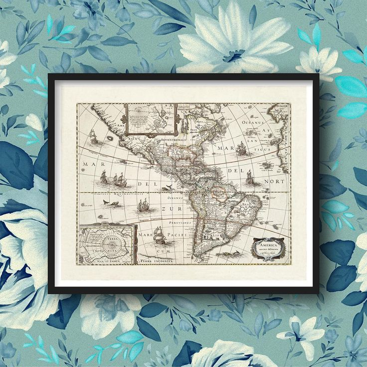 Seattle Map Lake Union%0A Framed map of the Americas
