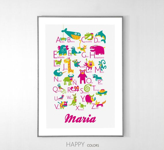 Personalized Spanish Alphabet Poster with animals from A to Z, BIG POSTER 13x19 inches - Baby Children Nursery Custom Wall Print Poster via Etsy
