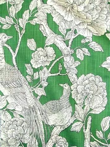 Tweedbank Green DE42577 2 -  Bird & floral print fabric on heavy linen weave for window treatments, upholstery fabric, bedding fabric, or pillows from Duralee Fabric.